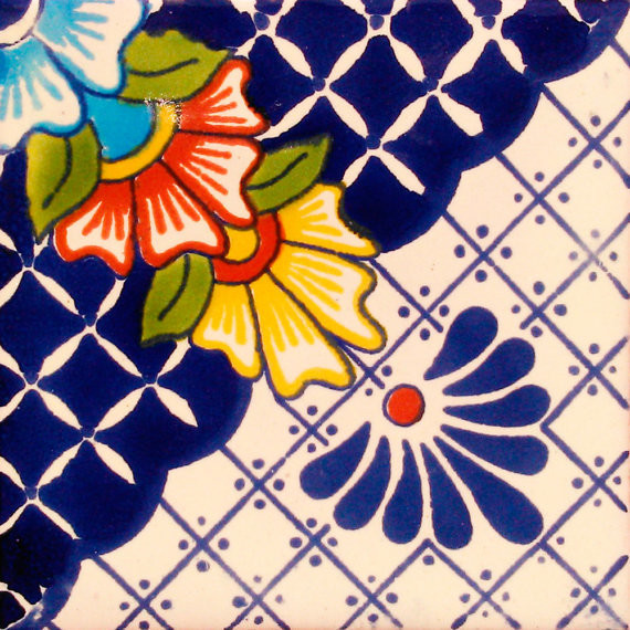 "4""x4"" Mexican Ceramic Handmade Tile C123."