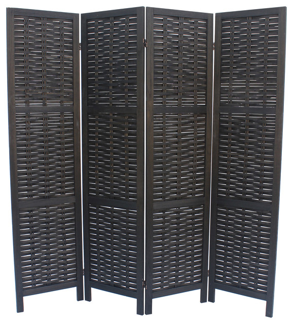 Cole Panel Room Divider Black Asian Screens And Room - 4 panel room divider
