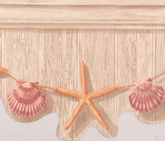 Orange Starfish Purple Seashell Hanging On Grey Wall Nautical Wallpaper Border