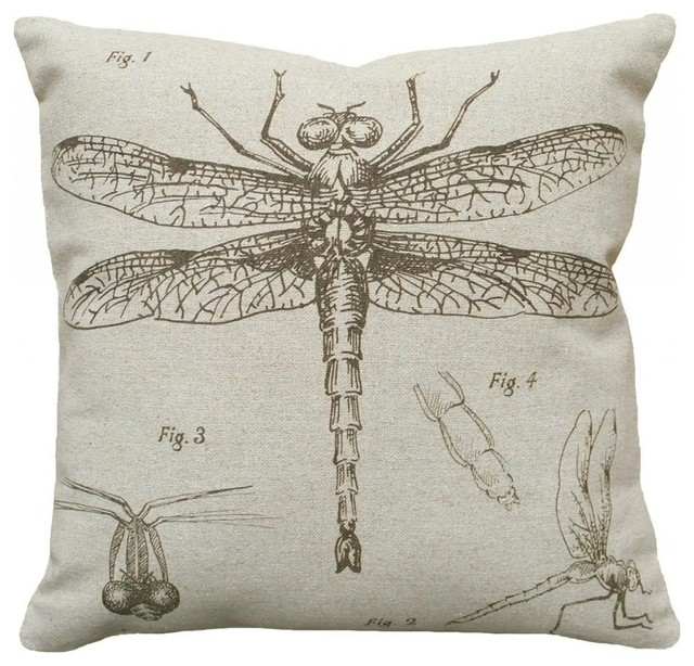 Dragonfly Study Smokey Gray, Hand-Printed Linen Pillow.