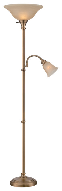 Henley 2-Light Torchier And Reading Lamp, Antique Brass
