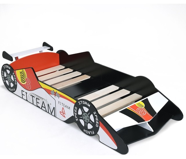 Unique Race Car Shaped Bedroom Fun Play Kids Toddler Bed.