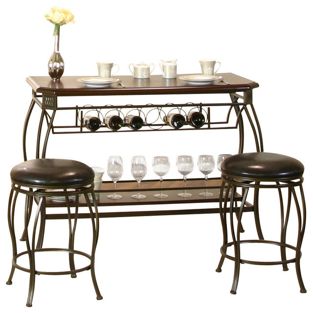 cramco warner 3 piece pub table set in bronze and chocolate transitional indoor pub and. Black Bedroom Furniture Sets. Home Design Ideas