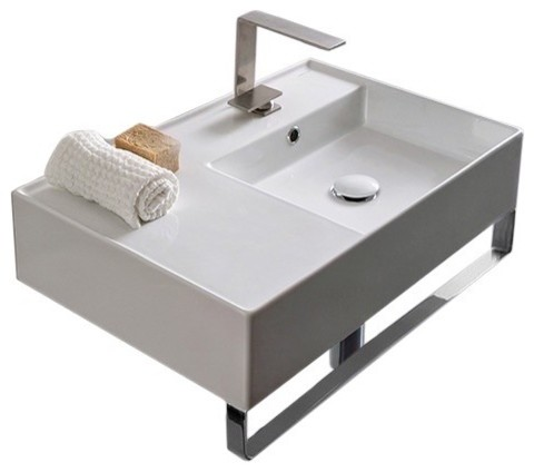 "24"" Ceramic Wall Mount Sink With Counter Space and Towel Bar, 1-Hole"