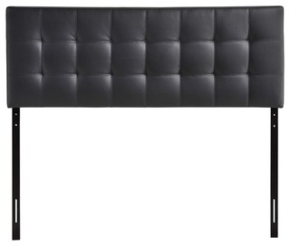 Modway Oliver Upholstered Faux Leather Queen Headboard in Black