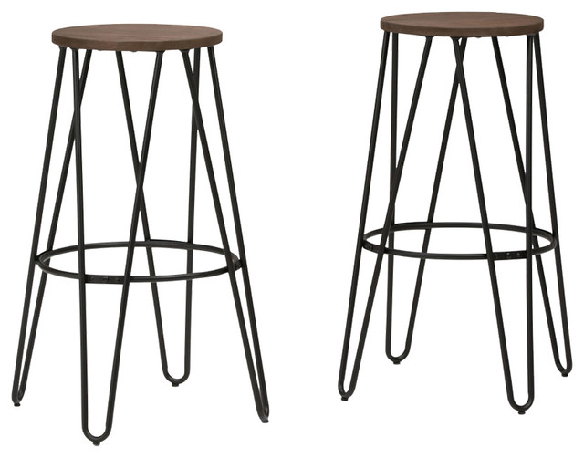 Simeon Metal Counter Height Stool With Wood Seat Black And Cocoa