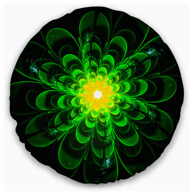 Sofa Throw Pillow 20 Designart CU12164-20-20-C Glowing Green Fractal Flower on Black Floral Round Cushion Cover for Living Room