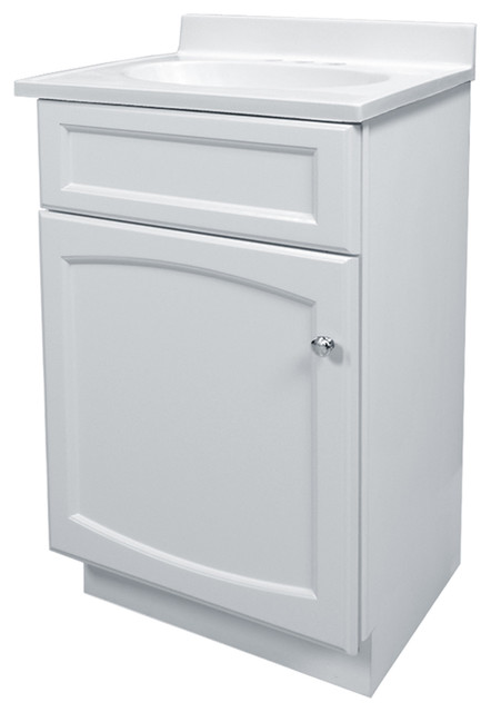 Heartland 19 white bathroom vanity with cultured marble for Marble top console sink