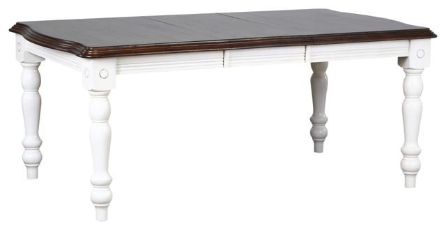 Bordeaux Extension Table, Antique White With Chestnut Top.