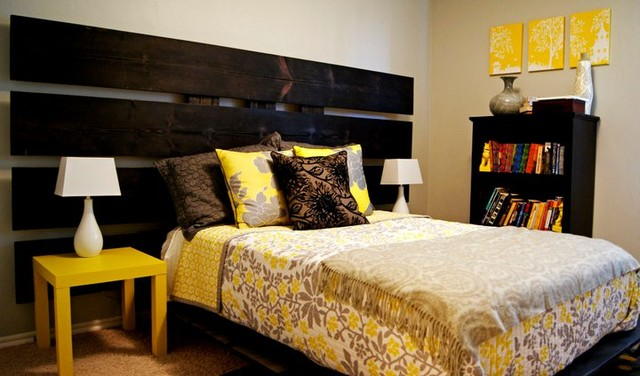 Yellow And Gray Bedroom Modern Bedroom Oklahoma City
