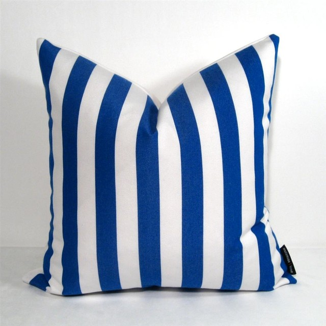 Cobalt blue white stripe outdoor decor cushion modern for Blue and white striped chaise lounge cushions