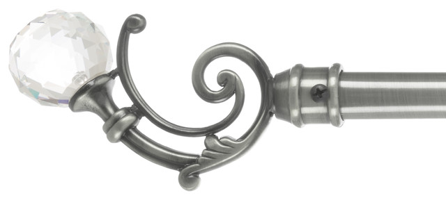 Curtain Rod Pewter With Glass Ball Finials 48-86 By Lavish Home.