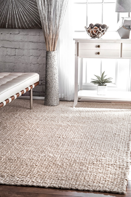 Hand Woven Natural Solid Jute Rug, Off White, 9'x12'