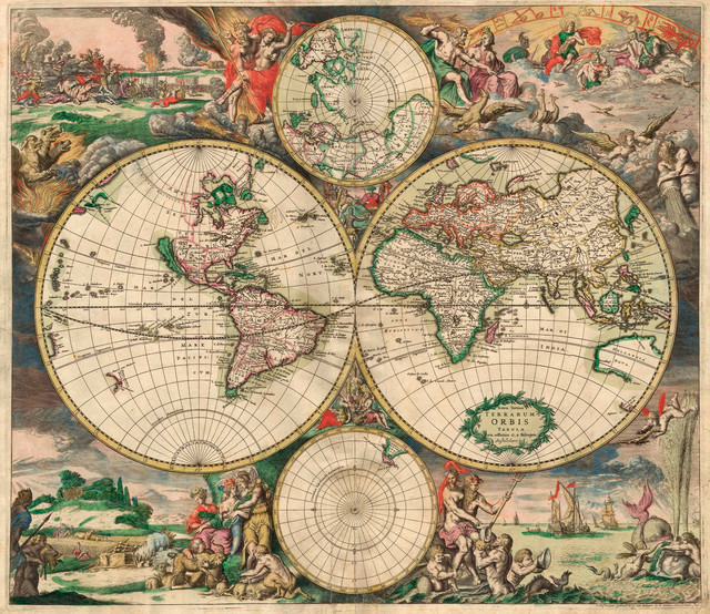 """""""World Map 1689"""" Art Print on Canvas by , 20""""x17.5"""""""