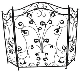 Zeckos Bronze Finish Iron Scroll Design 3 Panel Fireplace Screen Reviews Houzz