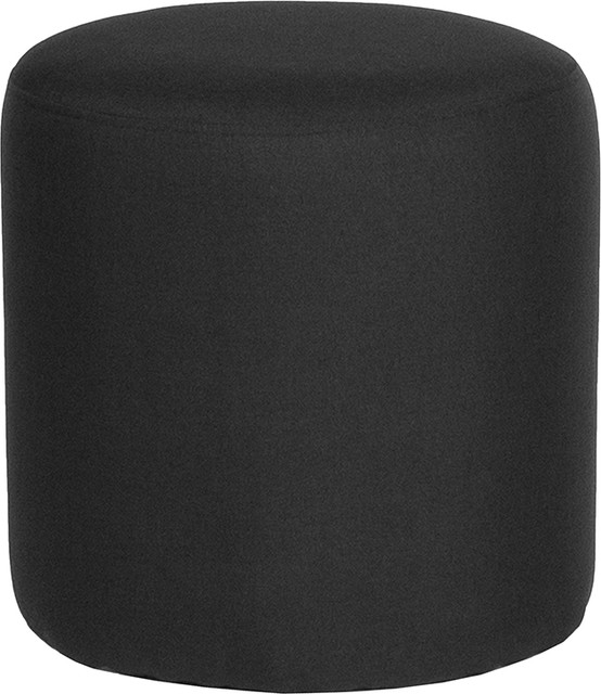 Barrington Upholstered Round Ottoman Pouf In Black Fabric.
