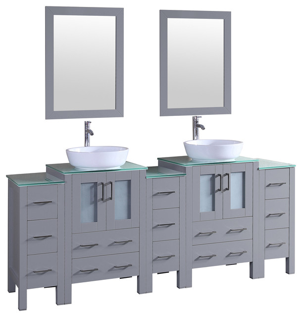 Cade Contempo Double Vanity With Top Gray