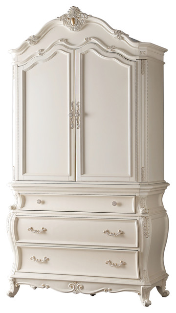 Meridian Furniture Marquee Pearl White Armoire Armoires