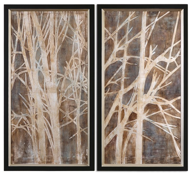 Uttermost Twigs Hand Painted Art, Set Of 2.
