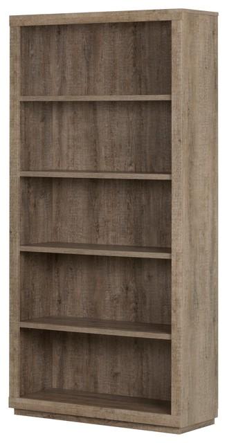 South Shore Kanji 5 Shelf Bookcase, Weathered Oak.