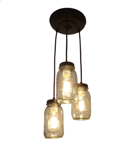 Mason Jar Chandelier Pendant With New Quart Jars