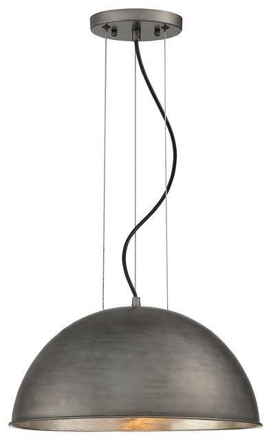 Savoy House Sommerton 1-Light Pendant, Rubbed Zinc With Silver Leaf.