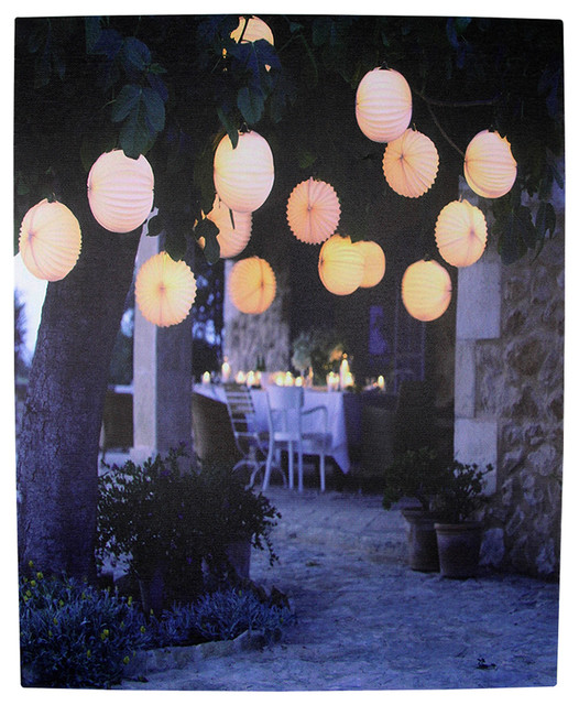 """8 Led Lighted Garden Party Canvas Wall Hanging, 12""""."""