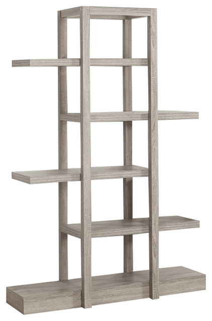 71 h open concept display etagere bookcase dark taupe for Open concept bookcase