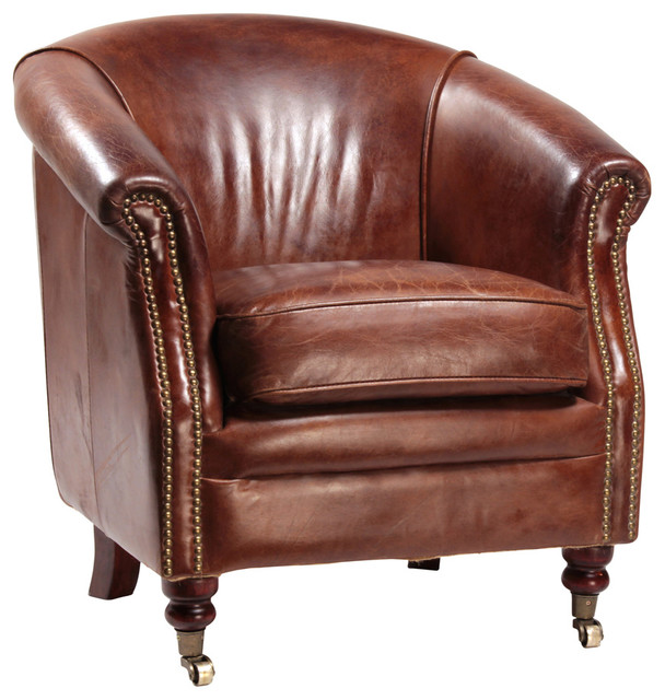 Club Chair - Antique Brown - Club Chair - Antique Brown - Traditional - Armchairs And Accent