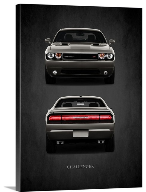 American Muscle Car Large Poster White Dodge Challenger Canvas Picture Print