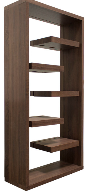 Midcentury Dark Walnut With Back Glass Book Shelves.
