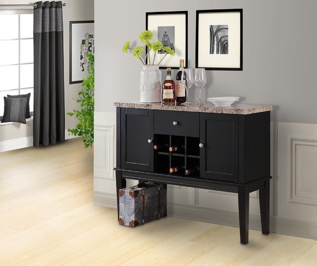 Wood Breakfront Cabinet Buffet Wine Storage Table, Marble Top, Black ...