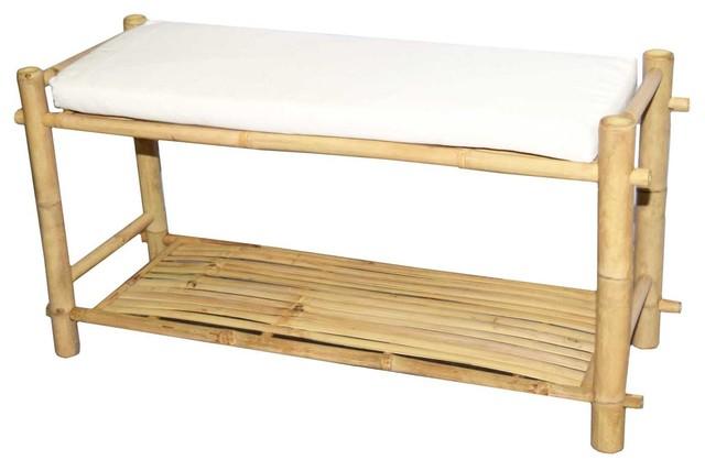Bamboo Shoe Rack With White Cushion.
