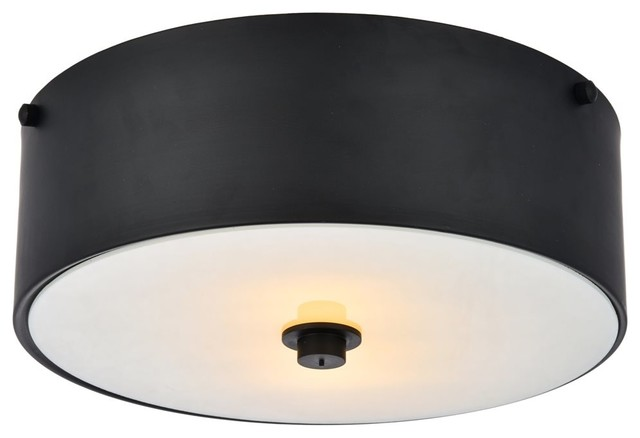 Elegant Living District Hazen 2-Light 12 Flat Black Flush Mount.