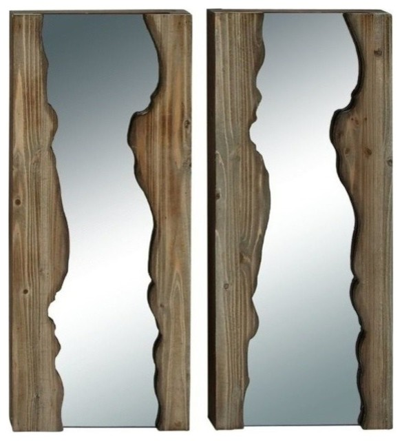 Reflections Wooden Wall Mirrors, Set Of 2.
