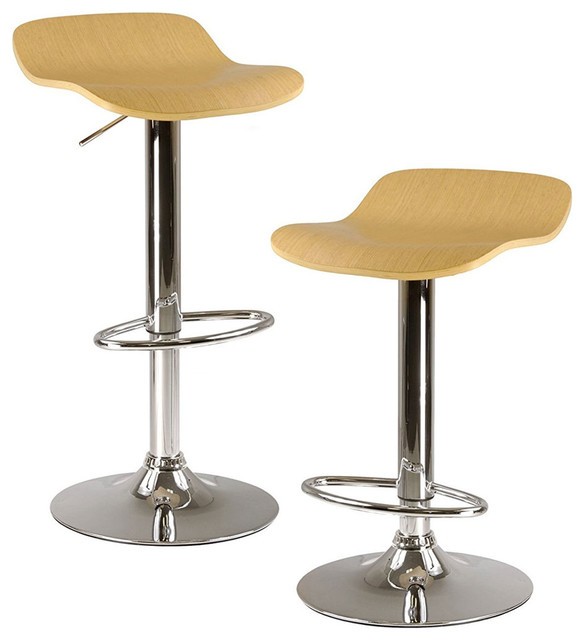 Miraculous Kallie Air Lift Adjustable Stools Set Of 2 Cappuccino Color Wood Veneer Top Short Links Chair Design For Home Short Linksinfo