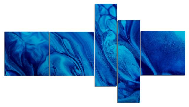 Dark Blue Abstract Acrylic Paint Mix Abstract Art On Canvas 60 X32 5 Panels
