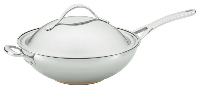 "Nouvelle Copper Stainless Steel 12"" Covered Stir Fry With Helper Handle."