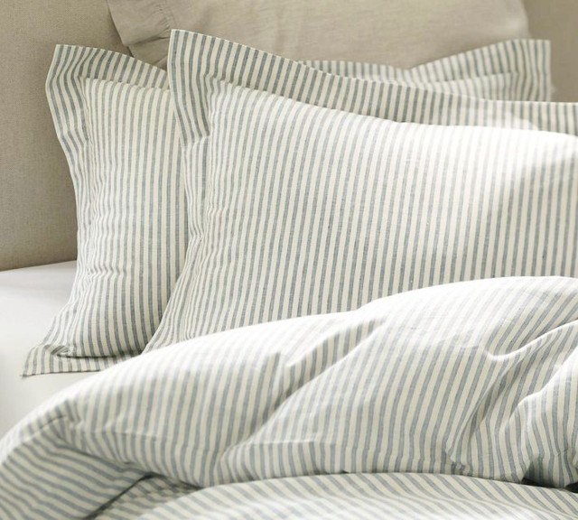 Vintage Ticking Stripe Duvet Cover & Sham, Blue ...