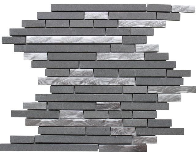 Smoke gray backsplash + white cabinets and carrera marble countertops!