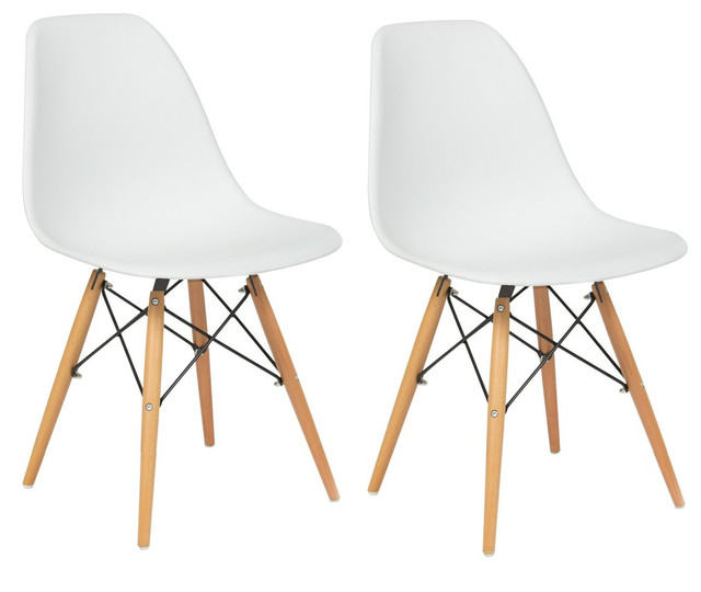 Lowe Midcentury Side Dining Chairs, Set of 2, White