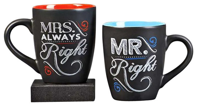 giftcraft mr right and mrs always right mugs set. Black Bedroom Furniture Sets. Home Design Ideas