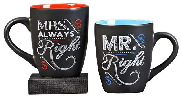 Chalktalk Coffee Mug 11 Ounce Mr Right And Mrs Always Set