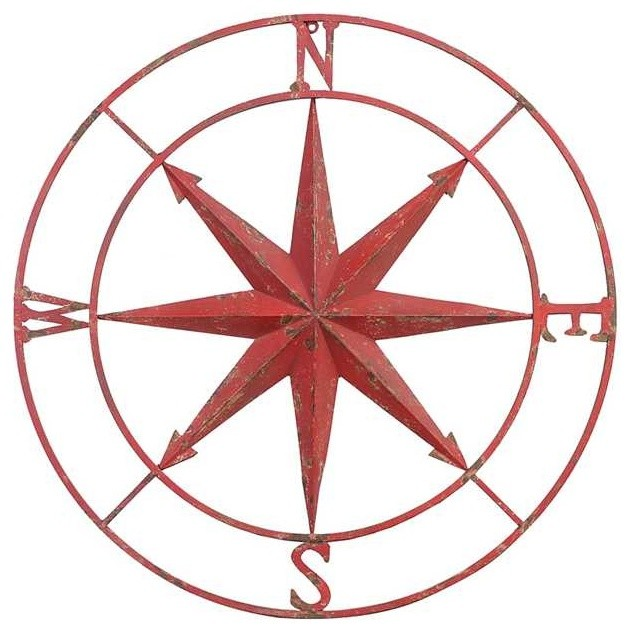 Metal Compass Wall Decor distressed red  sc 1 st  Houzz & Metal Compass Wall Decor distressed red - Transitional - Metal Wall ...