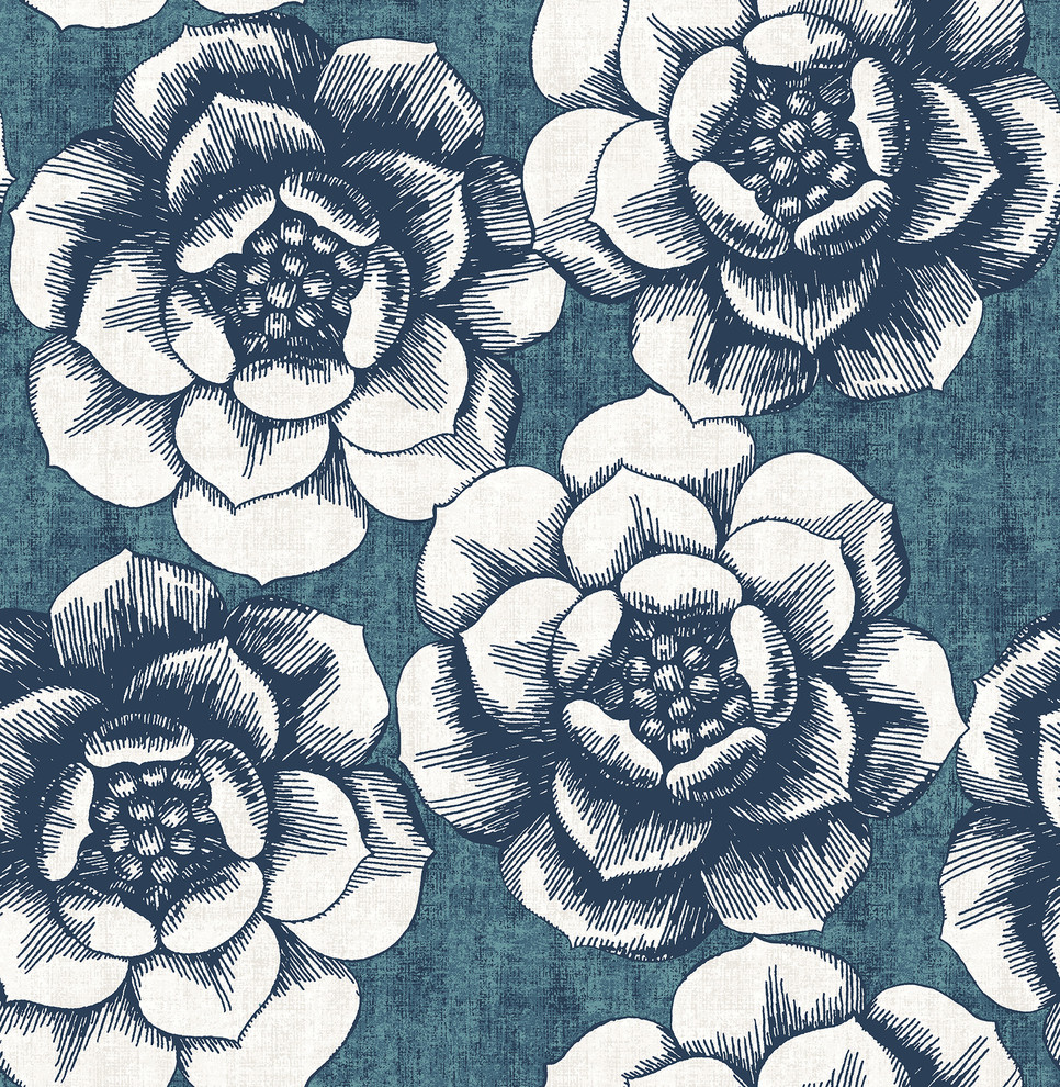 Fanciful Blue Floral Wallpaper Contemporary Wallpaper By