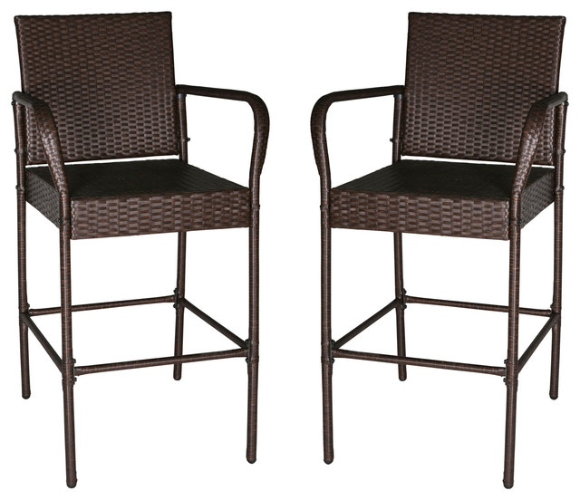Set Of 2 Outdoor Wicker Rattan Bar Stool Chairs Outdoor Patio Furniture  Brown Tropical Outdoor
