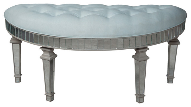 Grey Mirrored Half Round Bench 21 Quot X48 Quot Contemporary
