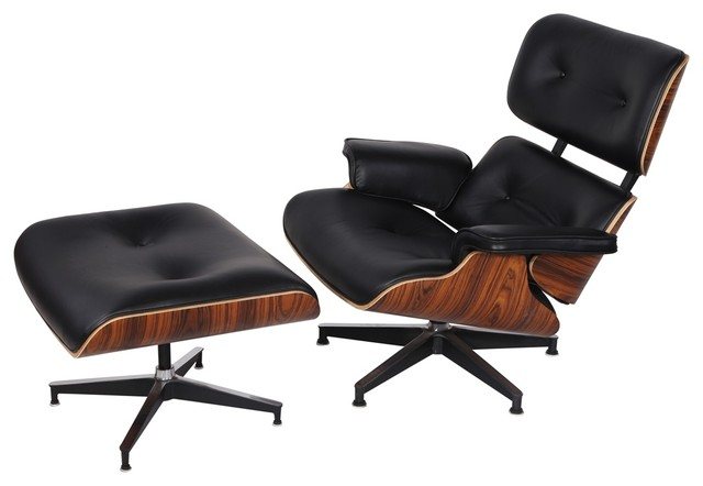 Beau Eaze Lounge Chair And Ottoman, Black Leather/Palisander Wood