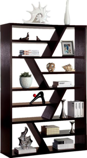 espresso wood display book shelf zigzag shelf separation melamine rh houzz com Espresso Wall Shelf Espresso Color Shelve