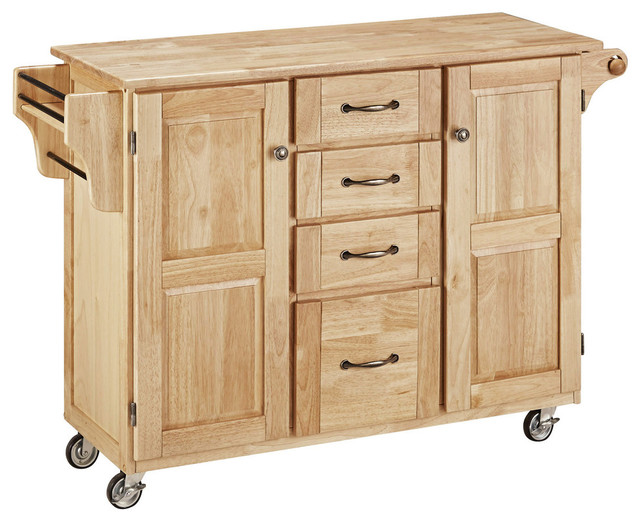 Create a cart natural finish with cherry top for Home styles natural kitchen cart with storage